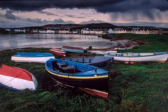 Scotland Fix of the Day: The pretty village of Port Ellen on the Isle of Islay shone as the rains departed for the evening. The rows of houses tell the story of a planned community, founded in 1825 as a malt mill for the whisky makers, Port Ellen distille