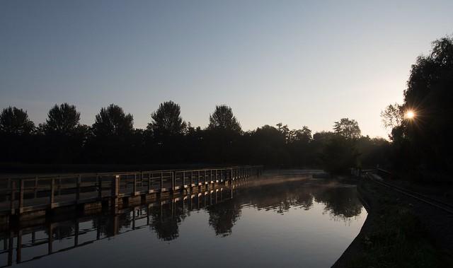 The pontoon at dawn.