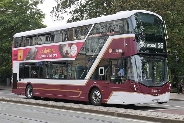 Lothian Volvo B5TL (Euro 6) Wright Eclipse Gemini 3 SF17VNC 468 operating service 26 to Clerwood at Princes Street, on 21 September 2021.
