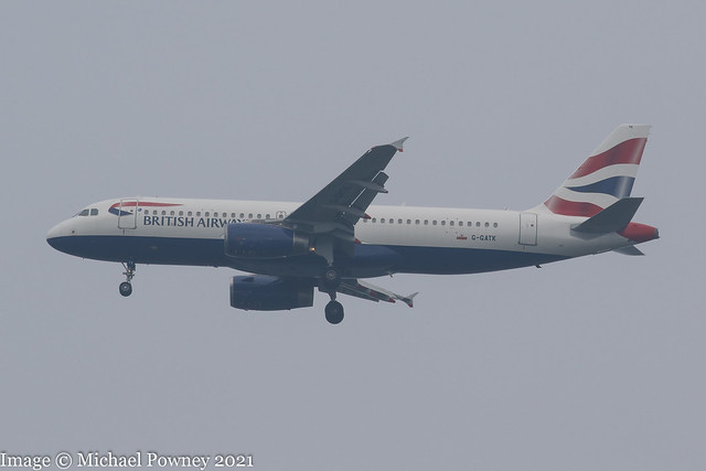 G-GATK - 2002 build Airbus A320-233, on approach to Runway 23R at a misty Manchester