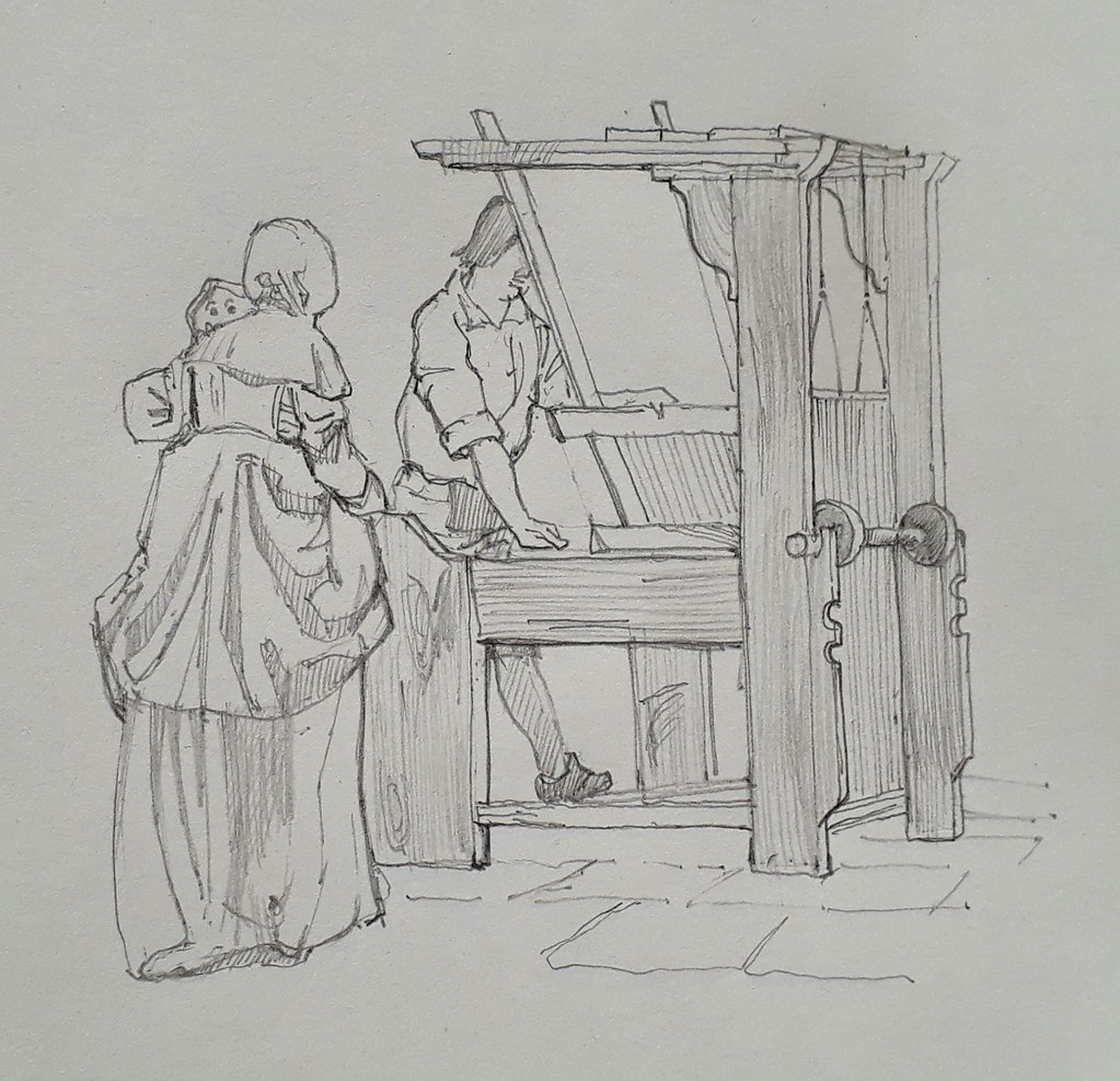A weaving loom and lady