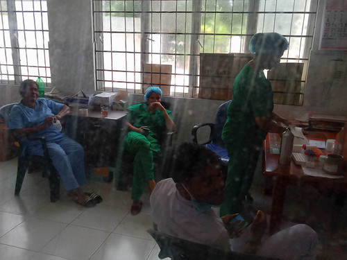 Nurses station behind the plastic wall
