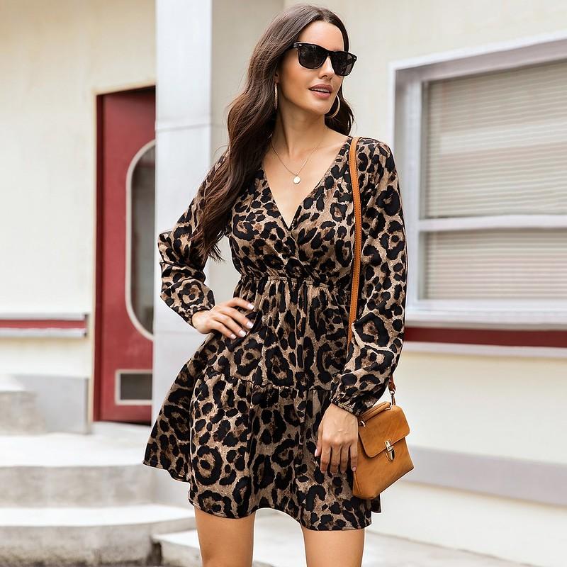 Pleasant leopard print ruffle hem surplice dress