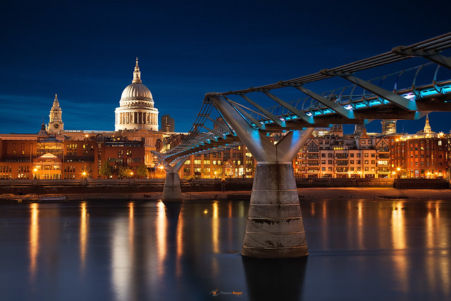 Millennium Bridge with the  St Paul's Cathedral