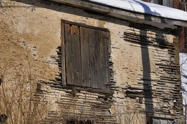 Upper storey door/window, First Schoolhouse, 1837 - Glen Williams, Halton Hills, Ontario