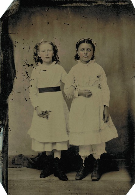 Tintype with two young girls