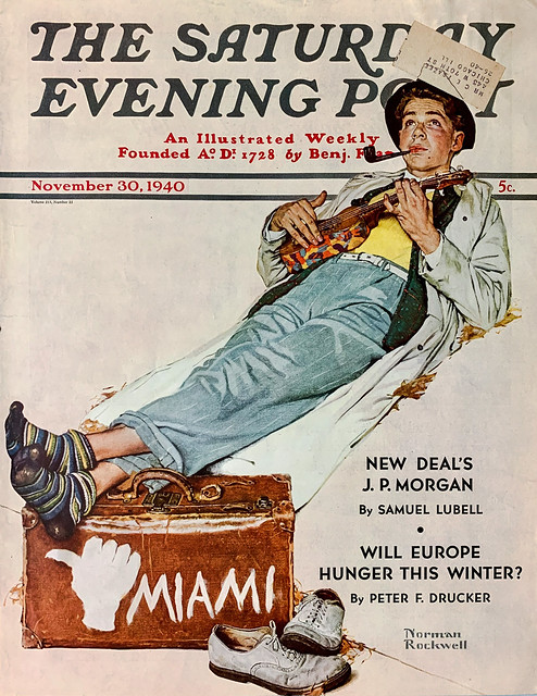"""""""Hitchhiker to Miami"""" by Norman Rockwell on the cover of """"The Saturday Evening Post,"""" Vol. 213, No. 22 (November 30, 1940)."""