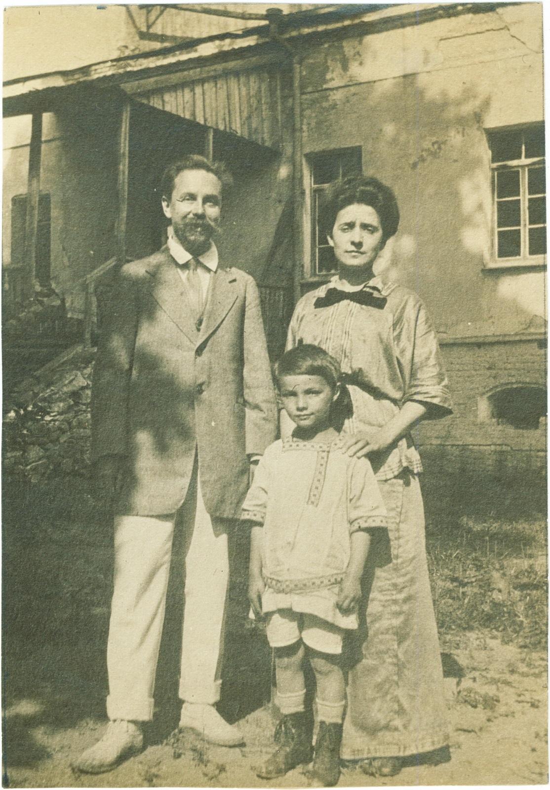 1913. А.Н. Скрябин, Т.Ф. Шлёцер-Скрябина и Юлиан Скрябин