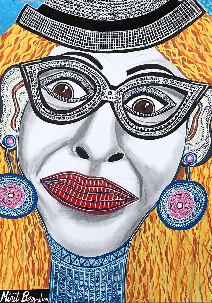 יצירה ישראלית מקורית ציור אישה אמנית ציירת מודרנית עכשווית