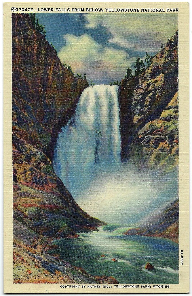 Lower Falls From Below. Yellowstone National Park. Postcard.