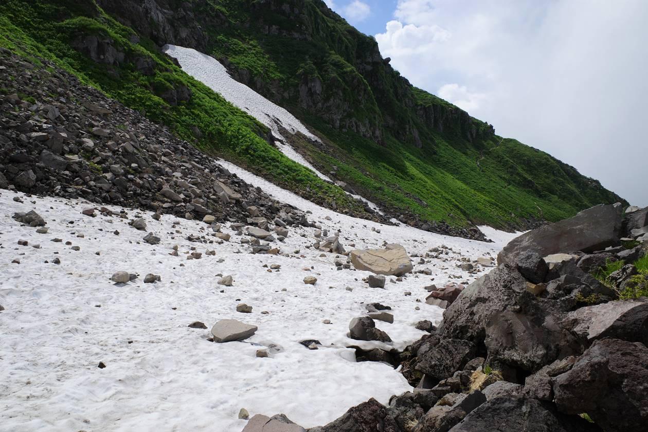 鳥海山 雪渓の落石
