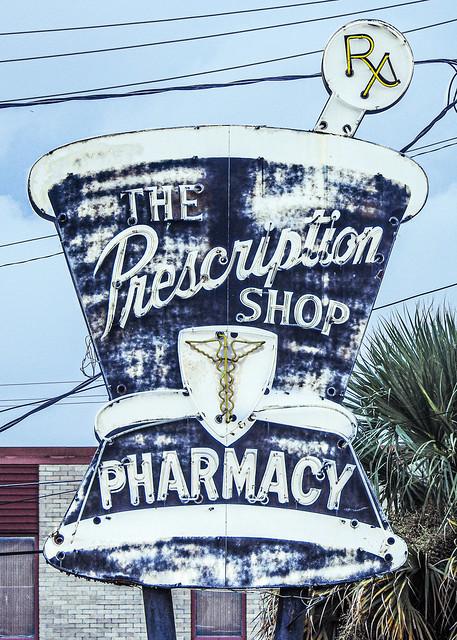 Vintage pharmacy sign / Savannah Georgia