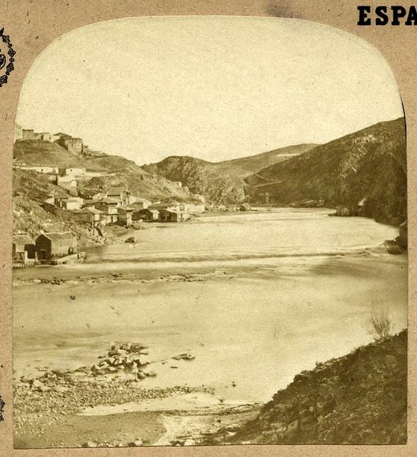Río Tajo desde la desembocadura del arroyo de la Cabeza de Pozuela en Toledo en 1857 por Eugène Sevaistre. Archivo Municipal, Ayuntamiento de Toledo (Colección Luis Alba)
