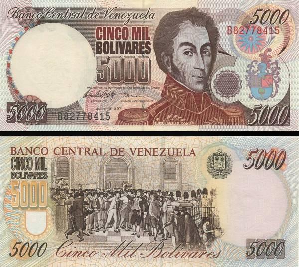 5000 Bolívares Venezuela 1997 P78