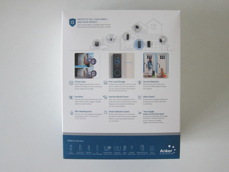 Eufy Video Doorbell 2K (Wired) - Box Back