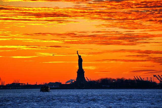 Sunset on the Liberty island