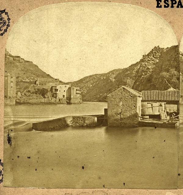 Molinos de Saelices en Toledo en 1857 por Eugène Sevaistre. Archivo Municipal, Ayuntamiento de Toledo (Colección Luis Alba)