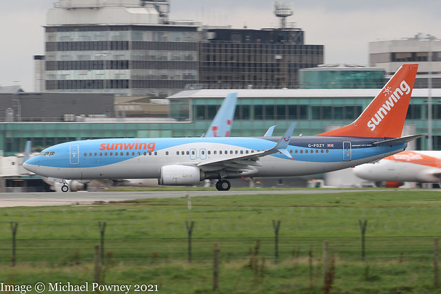 G-FDZY - 2011 build Boeing B737-8K5, rolling for departure on Runway 23R at Manchester