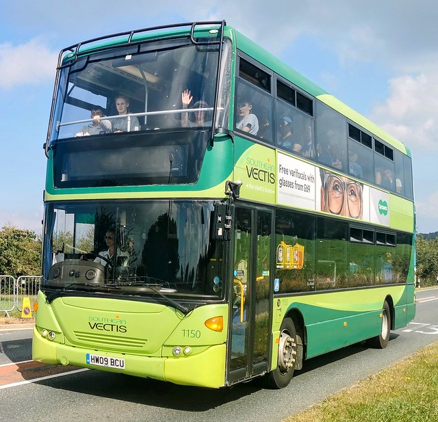 Southern Vectis 1150 is famous amongst us Isle of Wight Enthusiasts for being the most difficult bus to photo with it's display showing, I've had some luck recently but not this time. It's seen here on a festival shuttle. - HW09 BCU - 16th September 2021