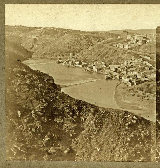 Vista del barrio de las Tenerías desde el valle en Toledo en 1857 por Eugène Sevaistre. Archivo Municipal, Ayuntamiento de Toledo (Colección Luis Alba)