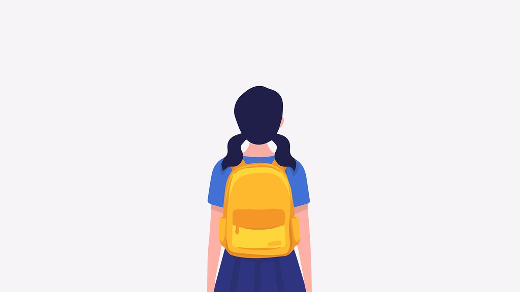 A graphic of a school child wearing a back pack.