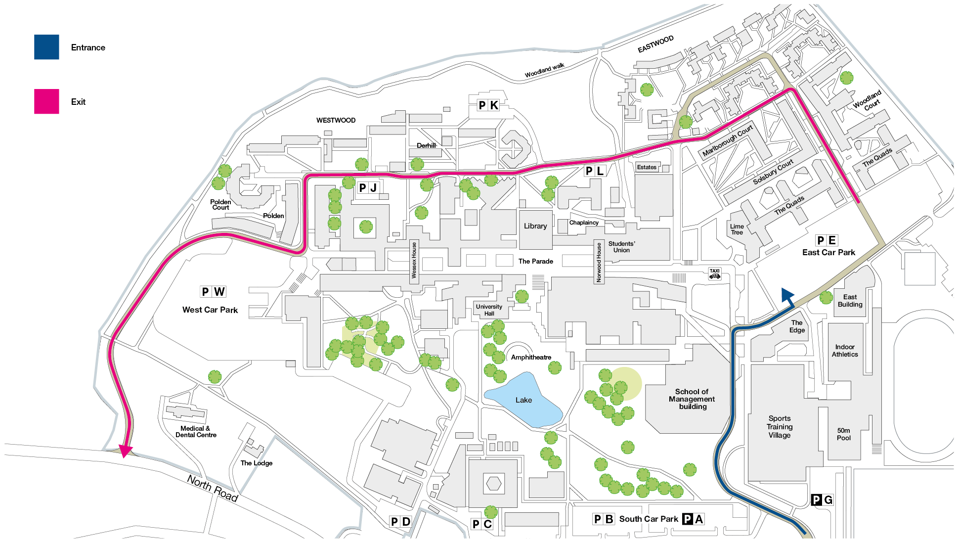 A map with arrows guiding the way out of the east carpark on the temporary route