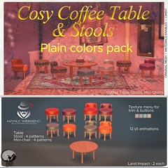 Petit Chat : Cosy coffee table & stools (plain color pack) @ Manly Week-end