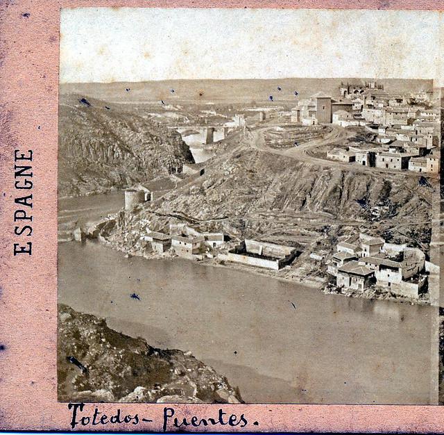 Vista estereoscópica del Tajo hacia 1857 por Eugène Sevaistre. Colección de Eduardo Sánchez Butragueño.