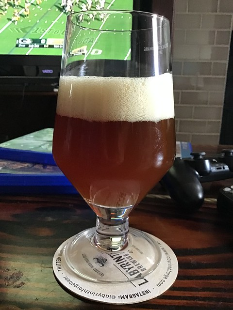 IPA 2 for 2021, in glass on table.