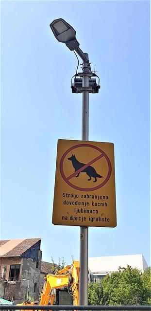 A Lamp Post that doesn't allow dogs.... Sisak Croatia