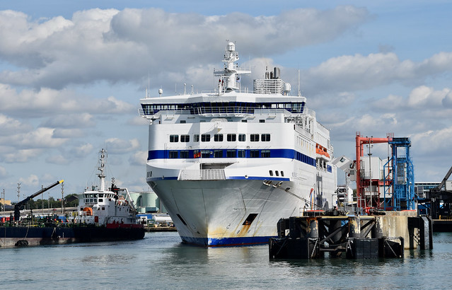 Bow of Brittany ferry, Normandie.  Portsmouth Harbour.