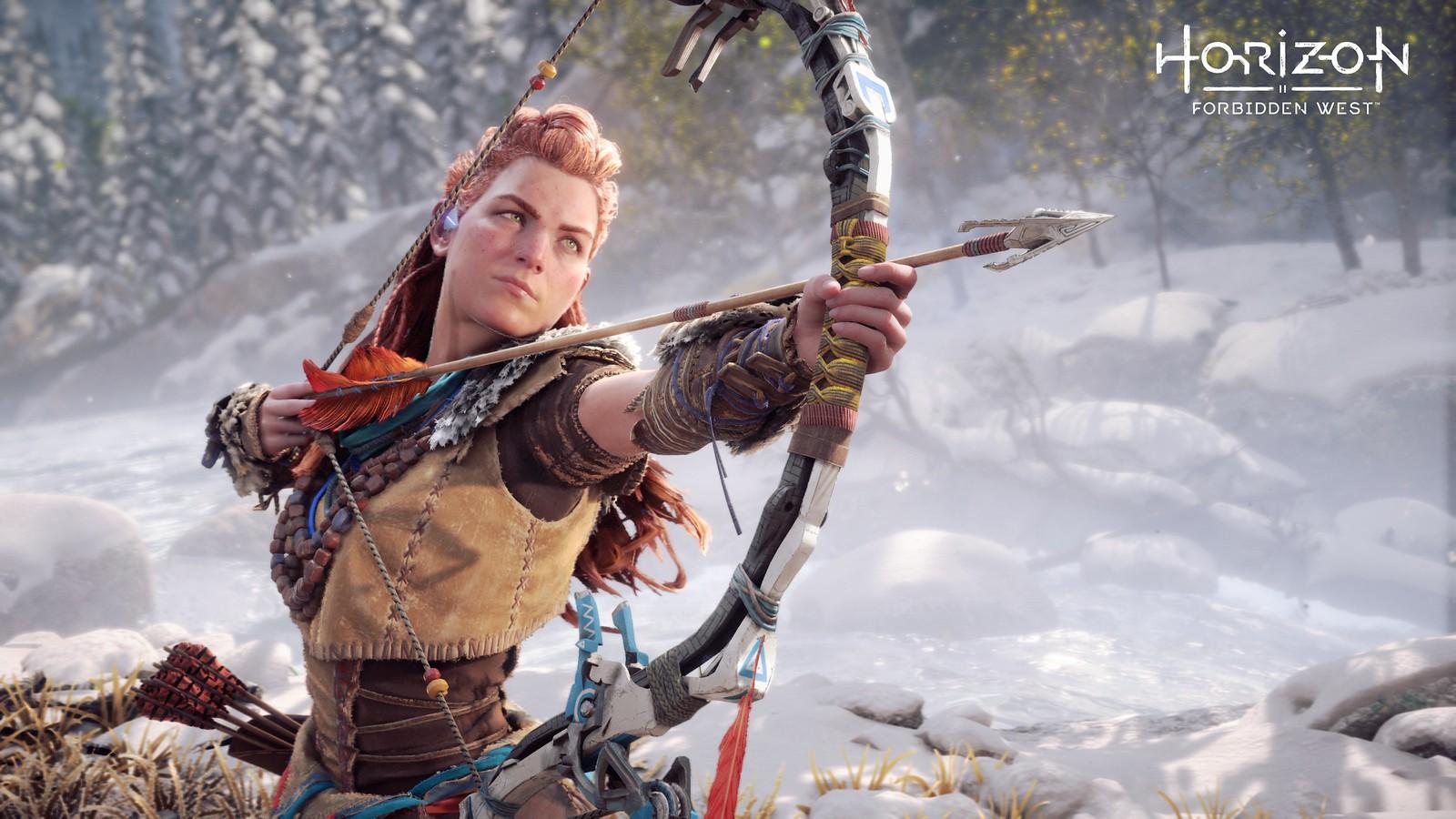 Aloy atirando flechas com arco
