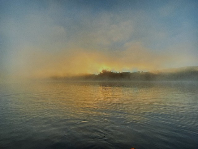 Foggy morning, Long Pond. Gorman Chairback Lodge, Maine