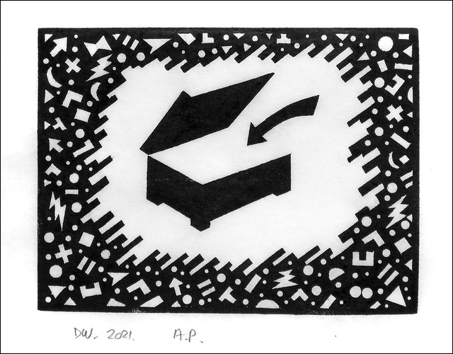 Lino print, with box... 2021.