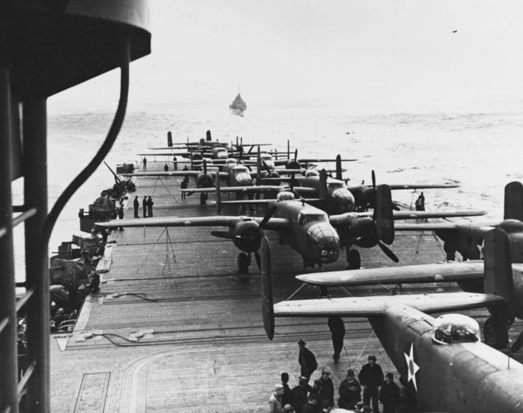USS HORNET (CV-8) uring the Doolittle Raid on Japan, 18 April 1942