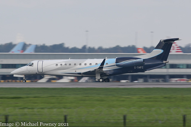 G-THFC - 2006 build Embraer 135BJ Legacy 600, arriving on Runway 23R at Manchester