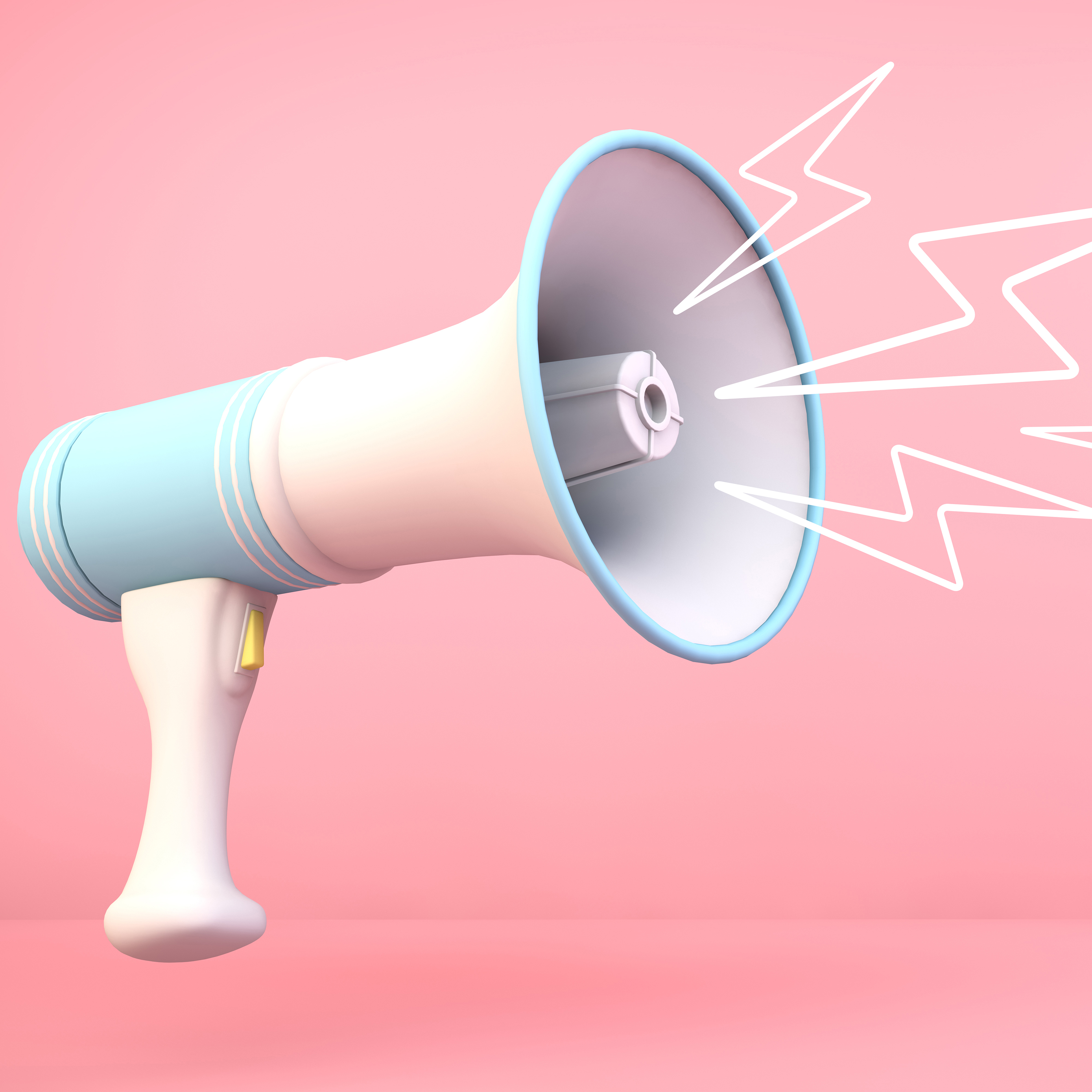 A megaphone with illustrations to represent sound coming out of it.