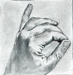 Study of a hand, graphite on paper (2021)