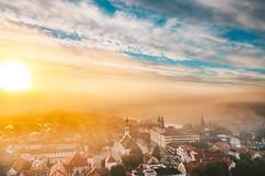 Autumn fog | Kaunas aerial