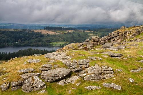 sheepstor burratorreservoir graniteoutcrops dartmoor dartmoornationalpark sunlit granite geology landscape hiking outdoors devon clouds weather canon eos50d tamron 1750mm forest uk