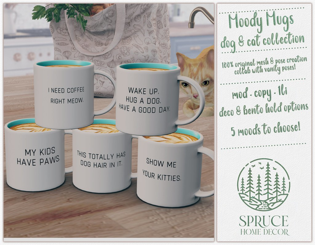 .spruce. moody mugs: dog & cat collection