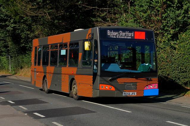 Orange Traces: Trustybus (ex Go-Ahead 230) Dennis Dart SLF/East Lancs Esteem PO56JFE Church Road Stansted Mountfitchet 24/09/21
