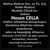 Vefat Haberi Hasan Cella
