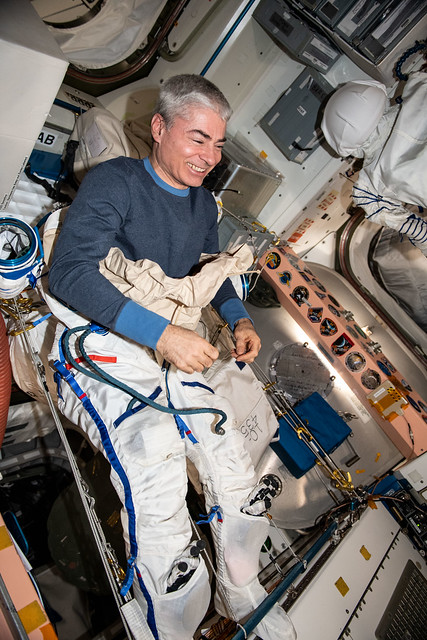Astronaut Mark Vande Hei tries on the Sokol launch and entry suit