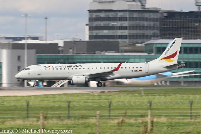 D-AZFA - 2006 build Embraer 190-100LR, rolling for departure on Runway 23R at Manchester