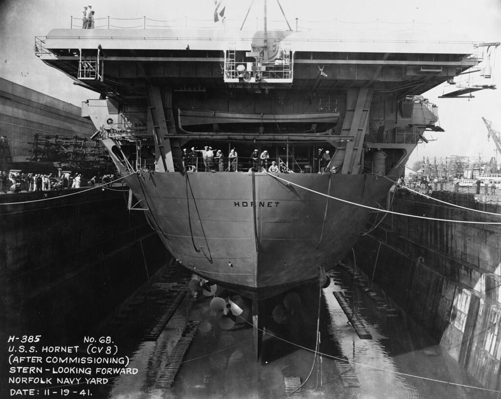 USS HORNET (CV-8)  after commissioning, at Norfolk Navy Yard, Portsmouth, Virginia, 19 November 1941,