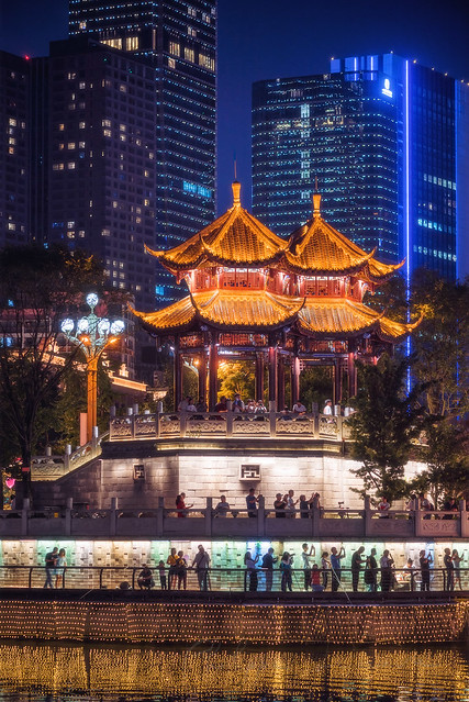 Hejiang pagoda illuminated at night in Chengdu