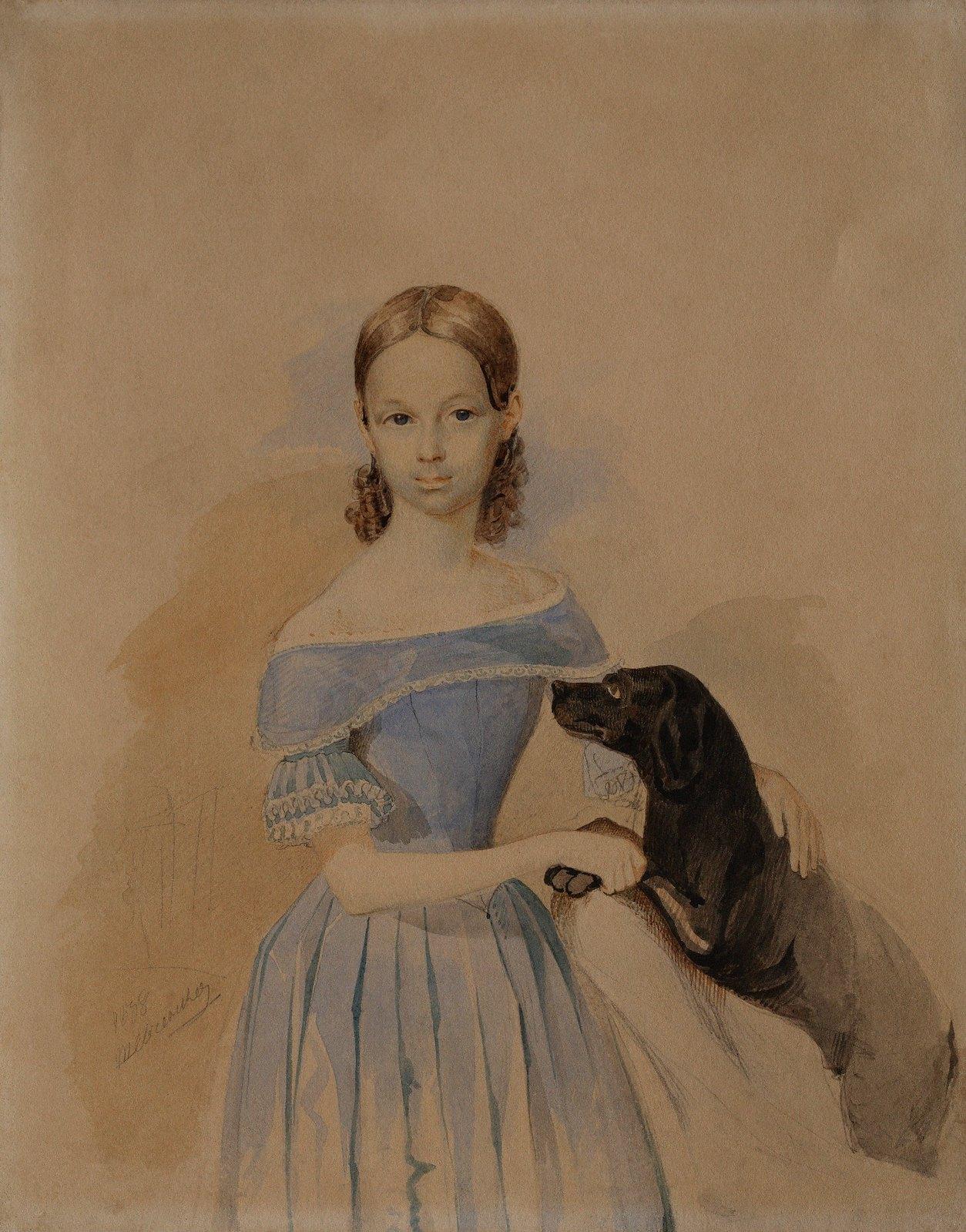 1838. Портрет девушки с собакой
