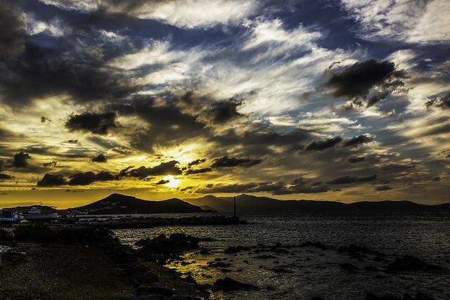 9895c Sunset over Paros