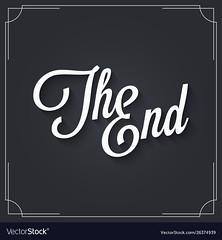The end sign logo design. Vintage movie ending